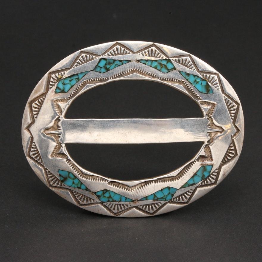 Tom Denesto Navajo Diné Sterling Silver Turquoise Belt Buckle/Hair Barrett