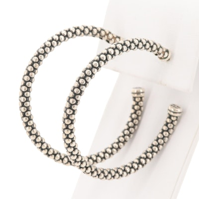 Lagos Caviar Sterling Silver and 14K White Gold Hoop Earrings
