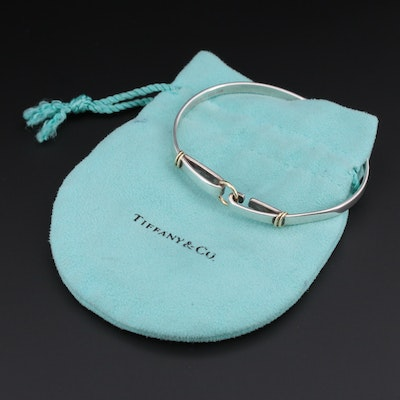 "Tiffany & Co Sterling ""Circle Hook"" Bangle Bracelet with 18K Accents and Pouch"