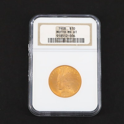 NGC Graded MS61 Motto Indian Head 1908 $10 Gold Coin