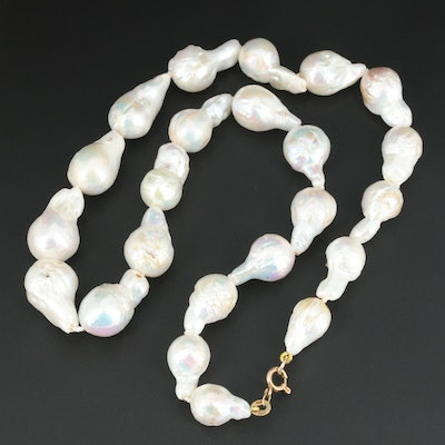 Cultured Baroque Pearl Necklace with 14K Yellow Gold Clasp