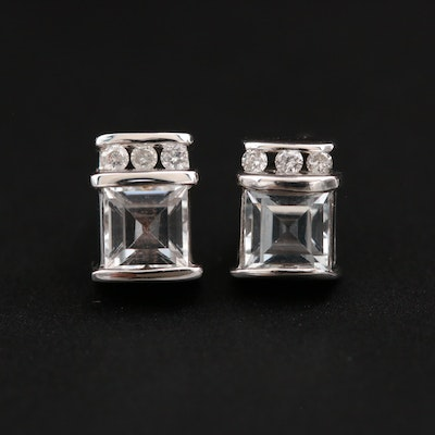14K White Gold Topaz and Diamond Earrings