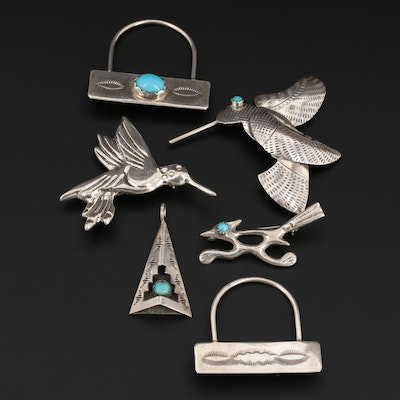 Southwestern Style Sterling Silver Turquoise Pendant and Brooches
