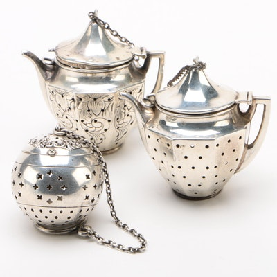 Sterling Silver and Silver Plate Tea Balls Including Webster Company, Vintage