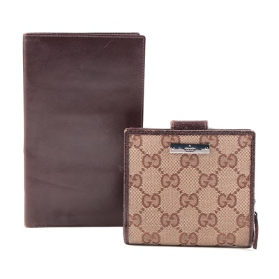 Gucci GG Canvas Compact Bifold Wallet and Bally Brown Leather Vertical Wallet