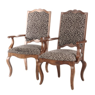 Century Furniture, Pair of French Provincial Style Open Armchairs