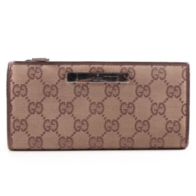 Gucci GG Canvas Continental Zip Wallet Trimmed in Brown Leather with Snap Sides