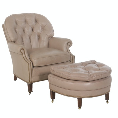 Hancock & Moore Taupe Leather Armchair and Ottoman