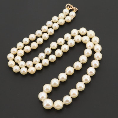 14K Yellow Gold Individually Knotted Cultured Pearl Necklace