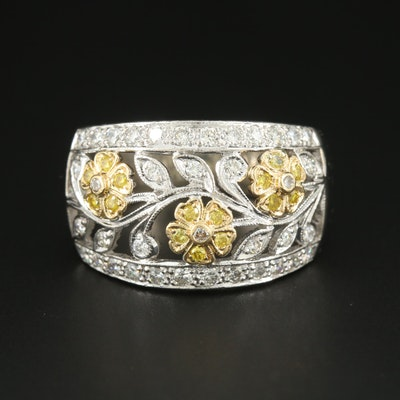 18K White Gold Diamond Ring with Yellow Gold Flower Accents
