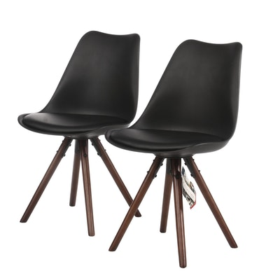 Pair of Design Lab Modern Style Black Molded Plastic and Beech Side Chairs
