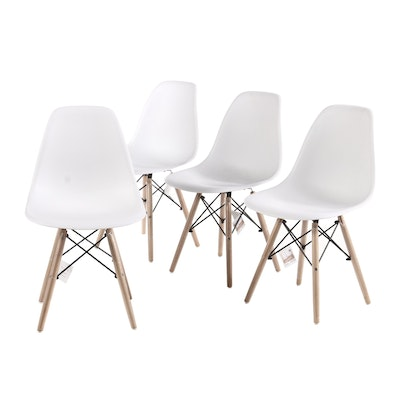 Four Eames Style Molded Plastic Side Chairs
