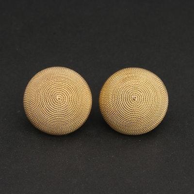 14k Yellow Gold Dome Earrings