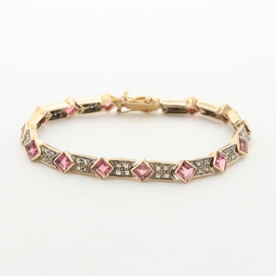 Vintage 18K Yellow Gold 1.12 CTW Diamond and Tourmaline Bracelet