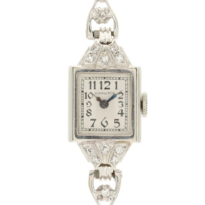 Antique Hamilton 14K White Gold and Diamonds Stem Wind Wristwatch, Circa 1938