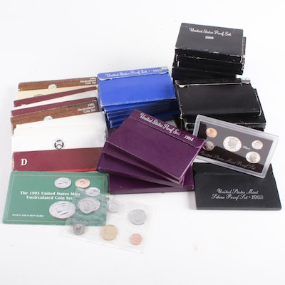 Collection of Fifty Proof and Uncirculated Coins Sets, 1969-1993