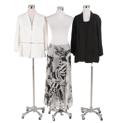 Chico's Black and White Separates with Two-in-One Denim Peplum Jacket