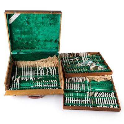 Thai Gold Wash Flatware with Case, Vintage
