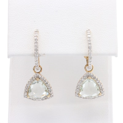 14K Yellow Gold Prasiolite and Diamond J-Hoop Drop Earrings