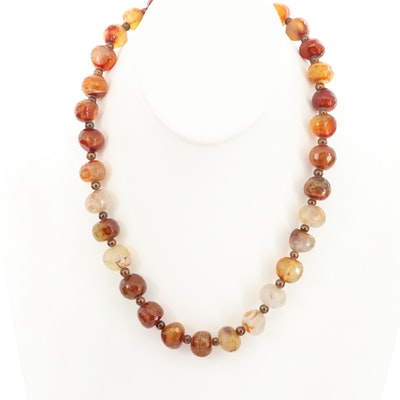 14K Yellow Gold Agate and Cultured Pearl Beaded Necklace