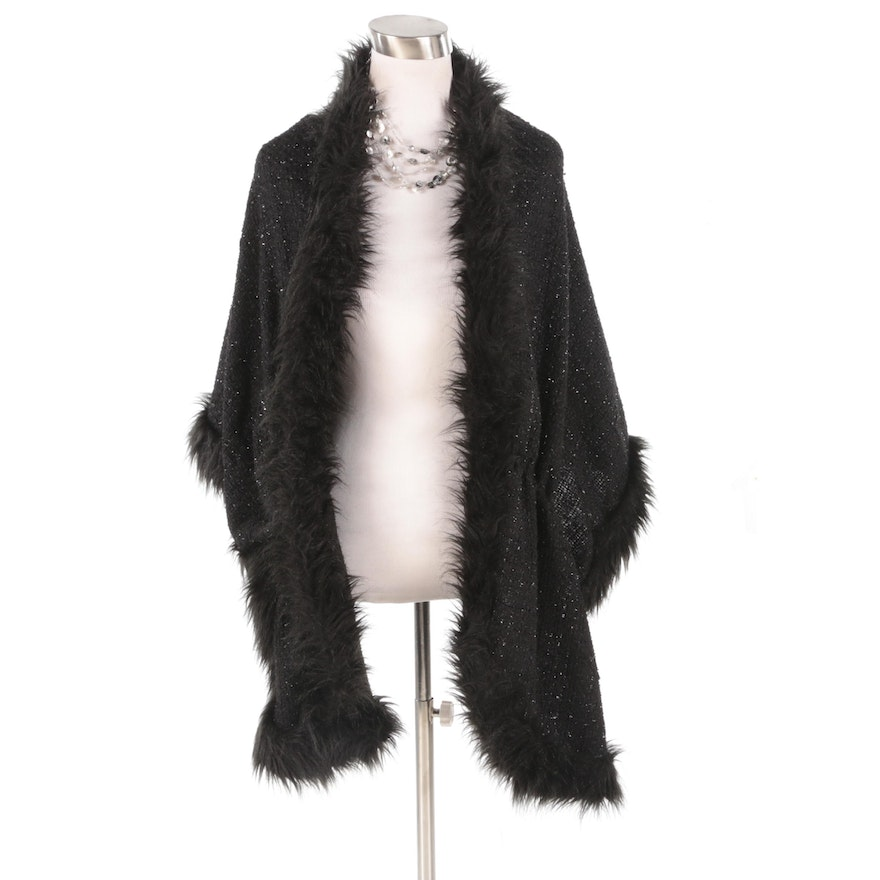 Chico's Black and Metallic Knit Wrap with Faux Fur and Illusion Strand Necklace