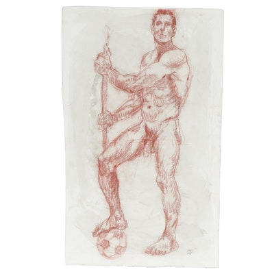 Lois Davis Male Nude Mixed Media Drawing