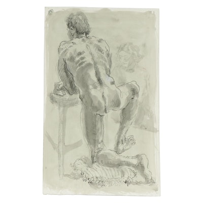 Lois Davis Male Figural Study Mixed Media Painting