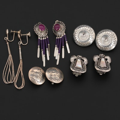 Southwestern Style and Native American Earrings Featuring N. Edsitty Navajo Diné