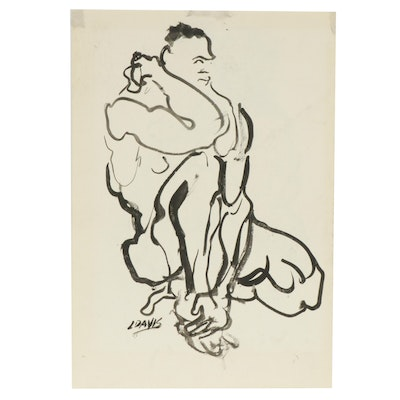 Lois Davis Male Nude Ink Painting