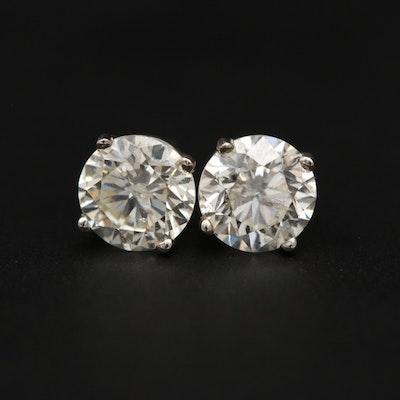 14K White Gold 1.98 CTW Diamond Stud Earrings