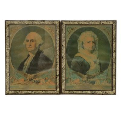 """H. Hallett & Co. Chromolithographs """"George Washington"""" and """"Martha Washington"""""""