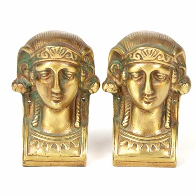 Bronze Egyptian Style Bust Bookends