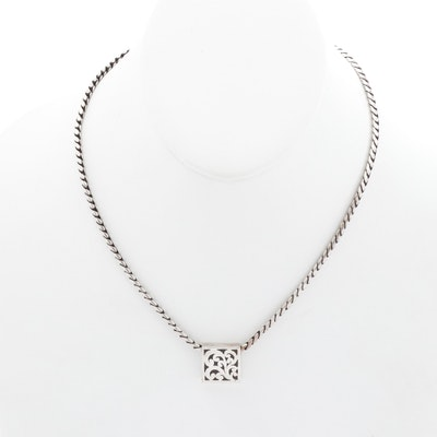 Lois Hill Sterling Silver Snake Chain Necklace with Slide Pendant
