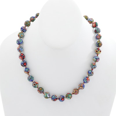 Millefiori Glass Beaded Necklace with Gold Tone Clasp