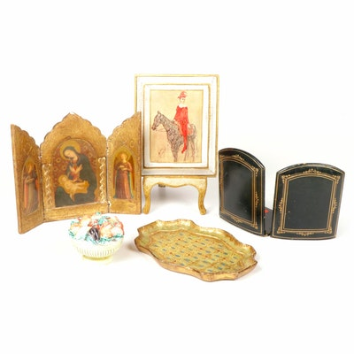 Florentine Giltwood Collection with Italian Porcelain and Leather Bookends