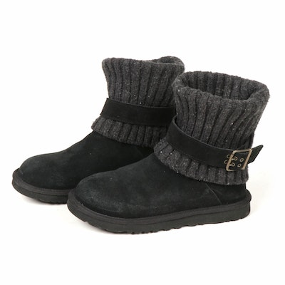 UGG Cambridge Knit Black Suede Belted Boots