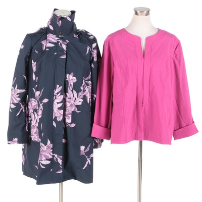 Chico's Alicia Textured Jacket and Floral Navy Raincoat