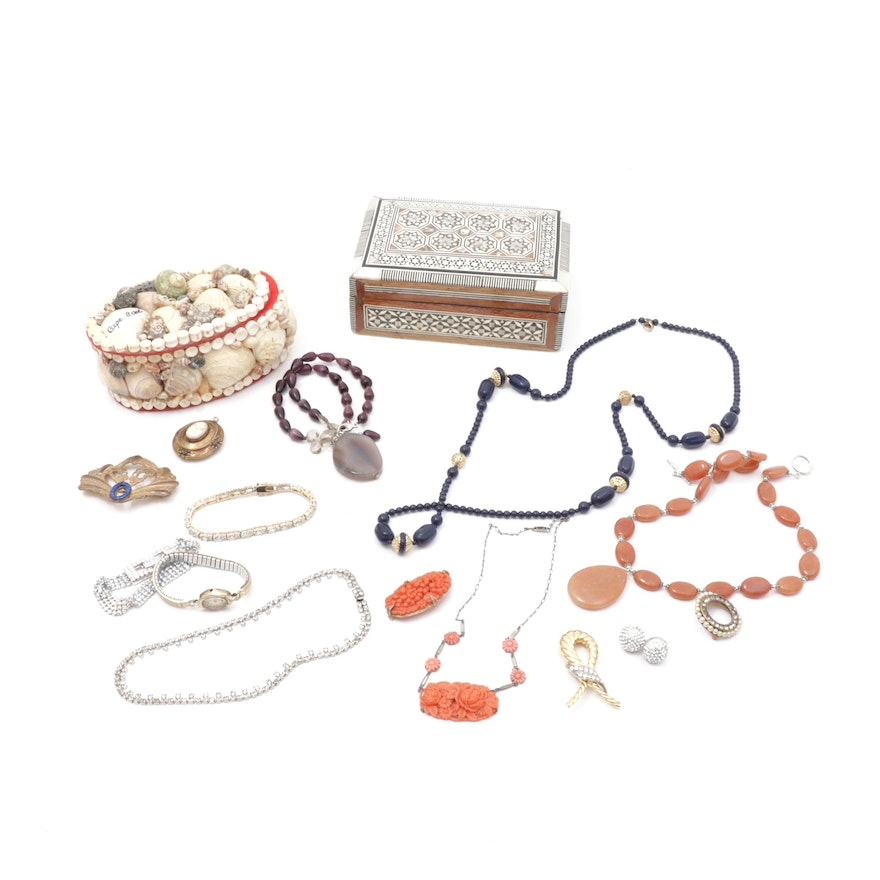 Mother of Pearl & Shell Boxes, Swarovski Crystal & Vintage Jewelry