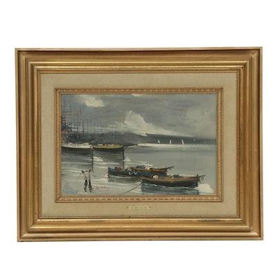 G. De Lillis Harbor Scene Oil Painting