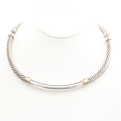 """David Yurman """"Metro"""" Sterling Silver with 14K Accents Hinged Collar Necklace"""