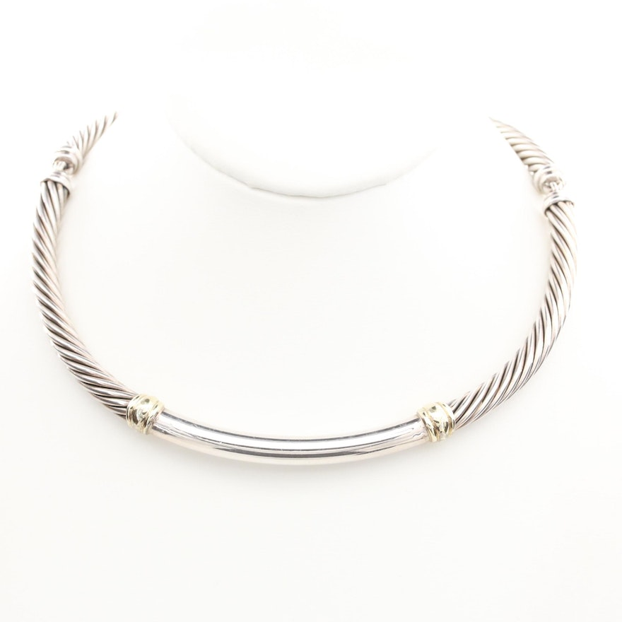 "David Yurman ""Metro"" Sterling Silver with 14K Accents Hinged Collar Necklace"