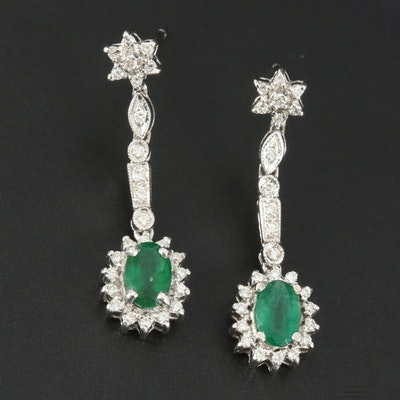 18K White Gold Emerald and Diamond Dangle Earrings