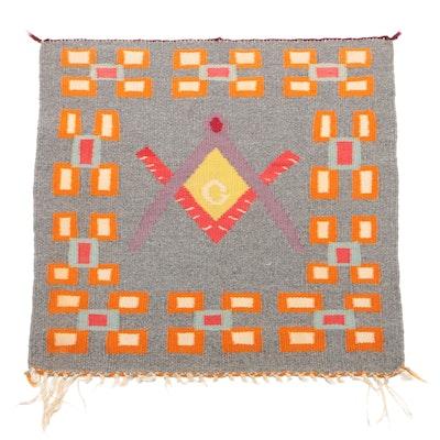 Rare Pictorial Navajo Germantown Blanket, Circa 1900