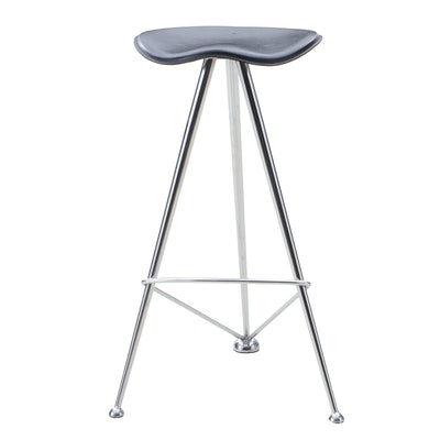 Contemporary Modern Vinyl Upholstered Chrome Counter Height Stool