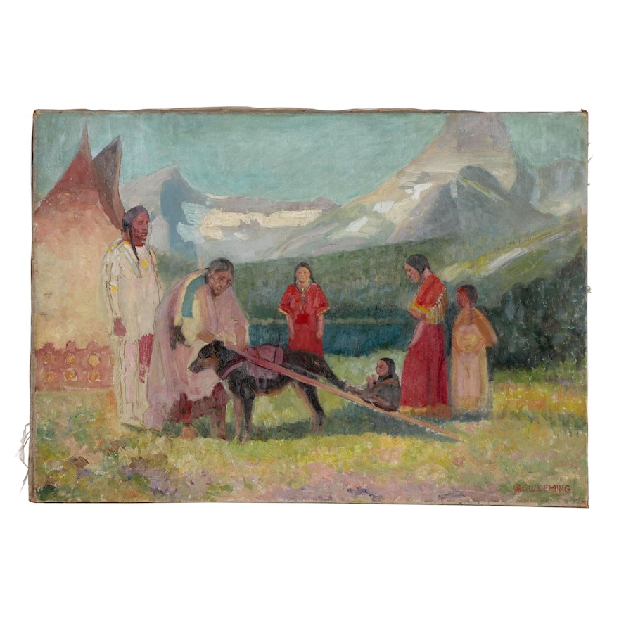 Edwin Willard Deming Figural Oil Painting of Native American Scene