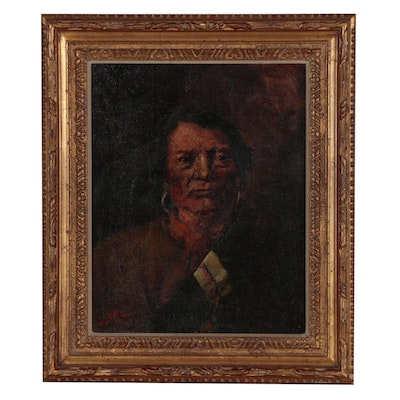 "Carl Lotave 1905 Oil Portrait ""Ignacio, Chief of the Utes"""