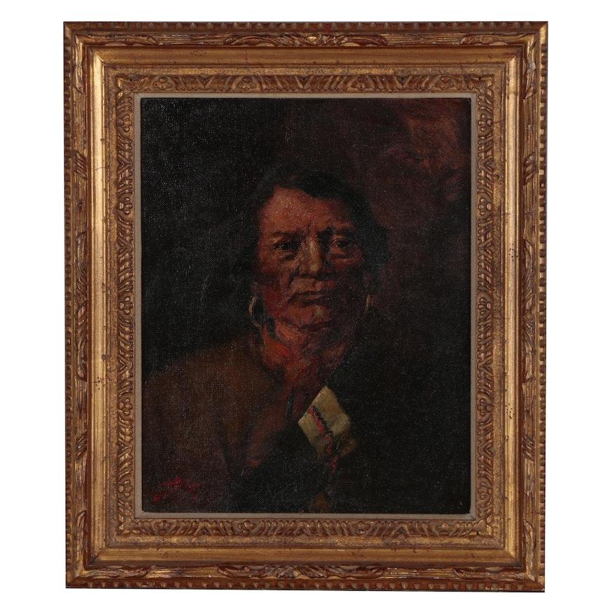 """Carl Lotave 1905 Oil Portrait """"Ignacio, Chief of the Utes"""""""