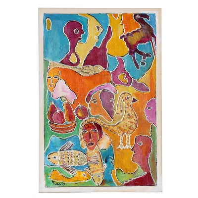 Charles Tullio Figural Abstract Acrylic Painting