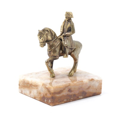 Napoleon on Horseback Brass Figure on Marble Base
