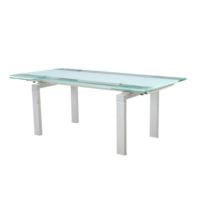 Tempered Glass and Frosted Glass Top Dining Table, Contemporary